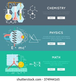 science banners, chemistry, physics, math. flat and line style vector concepts