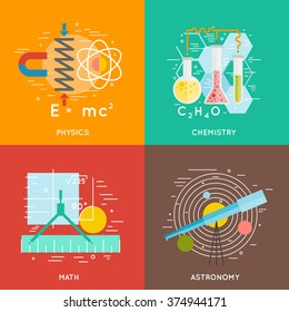 science banners, chemistry, physics, math, astronomy. flat and line style vector concepts