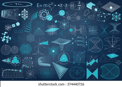 Science. Big collection of elements, symbols and schemes of physics, chemistry and sacred geometry