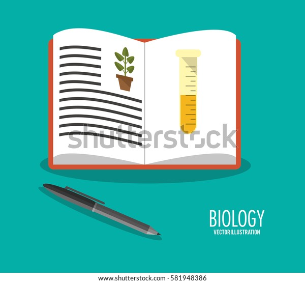 science biology book pen icons