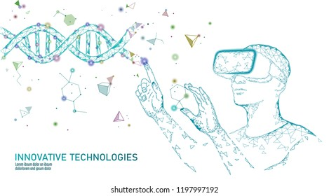 Science biology gene modifying concept. VR headset holographic projection virtual reality glasses. Futuristic medicine research gene therapy health analysis laboratory chemistry vector illustration