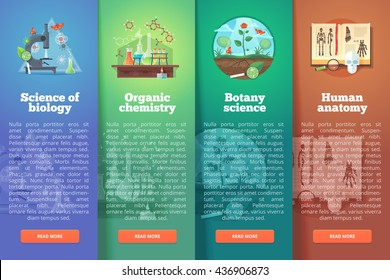 Science of biology. Organic chemistry. Botany study. Human anatomy. Education and science vertical layout concepts. Flat modern style.