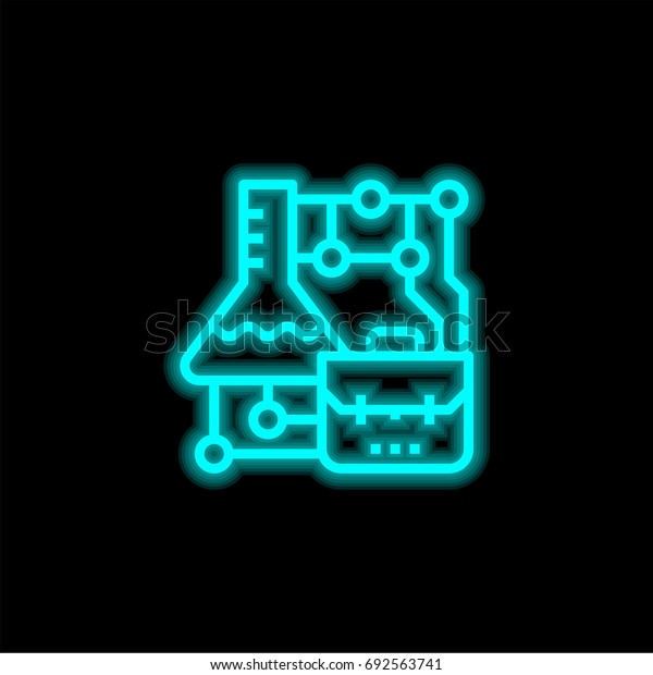 Science blue glowing neon ui ux icon. Glowing sign logo vector