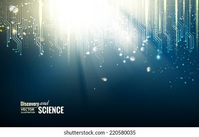 Science blue lights background. Vector illustration.