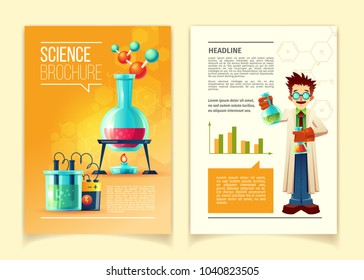 Science brochure vector template, front and back side, educational leaflet, flyer with different chemistry equipment, vials, flasks, molecules, chemical formulas and scientist in cartoon style