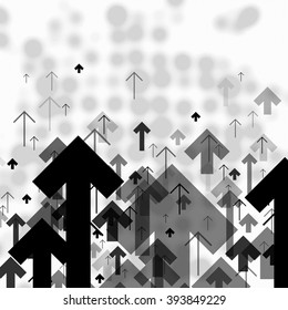 Science or Business Abstract Monochrome Background. Arrows Up and Blurred Dots Composition on background. Good for annual reports, brochures, covers, etc