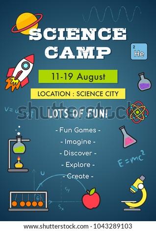 science camp invitation poster vector illustration のベクター画像