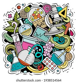 Science cartoon vector doodle design. Colorful detailed composition with lot of scientific objects and symbols. All items are separate