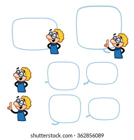 Science Character - set of poses with speech bubbles