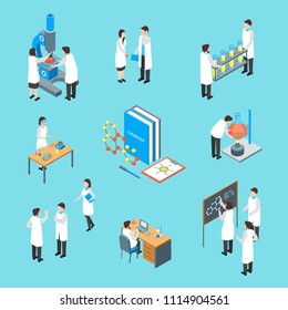 Science Chemical Pharmaceutical 3d Icons Set Isometric View Include of Scientist, Professional Assistant and Microscope. Vector illustration of Icon