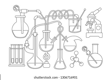 Science and chemistry doodle background. Health care medicine laboratory design. Black and white coloring book page isolated