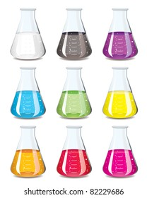 Science chemistry flask in a rainbow of colours