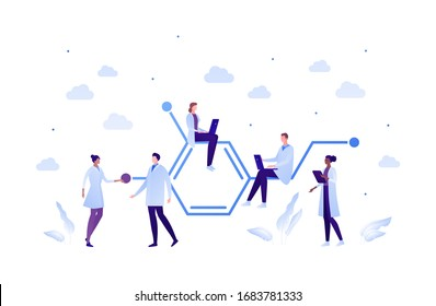 Science chemistry laboratory concept. Vector flat person illustration set. Mixed ethnic team of male and female with formula sign. Laptop and textbook. Design for scientist teamwork banner