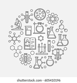 Science and chemistry line symbol - vector round biotechnology outline sign or laboratory concept illustration
