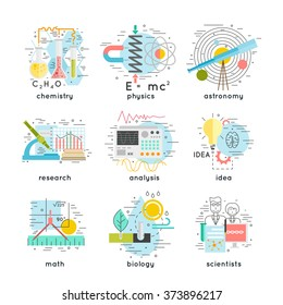 science, chemistry, physics, astronomy, research, analysis, idea, math, biology, scientists concepts. thin line and flat vector illustration.