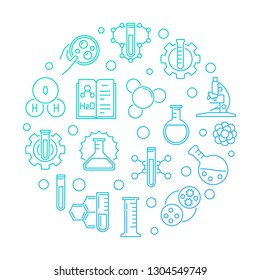 Science and Chemistry vector blue concept round linear illustration on white backgroun