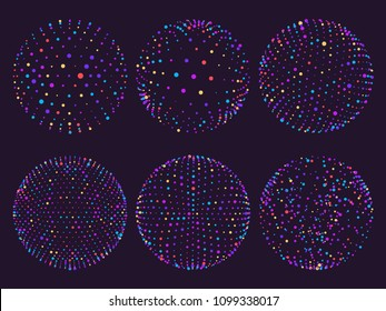 Science colorful atom spheres of blue purple red yellow cyan elements, dots orbs or particles orbit. Geometry digital 3d grid sphere for futuristic chart vector illustration on purple background