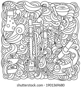 Science coloring page antistress, doodles and curls with laboratory equipment vector illustration