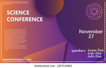 Science conference invitation design template, flyer layout. Geometric background. Minimal abstract cover design. Creative colorful wallpaper. Trendy gradient poster. Vector illustration.