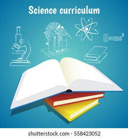Science curriculum education concept vector illustration. Open book and school subjects icons on blue background.