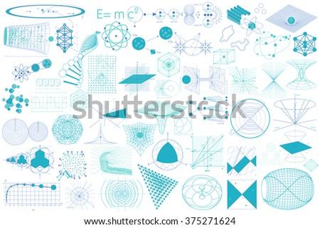 Science Diagrams Big Collection Elements Symbols Stock Vector ...