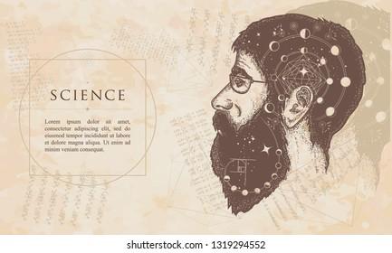 Science. Double exposure portrait of scientist. Renaissance background. Medieval manuscript, engraving art