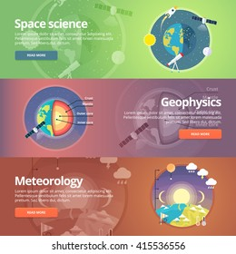 Science of Earth. Exploration of space. Geophysics. Meteorology. Atmospheric phenomena. Education and science banners set. Vector design concept.