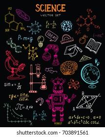 Science education doodle set of Biology, mathematics, physics, chemistry, astronomy, robotic technology, geometry.