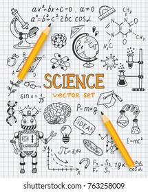 Science education doodle set of Biology, mathematics, physics, chemistry, astronomy, robotic technology, geometry.