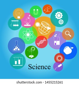 Science  education icons.Science & technology icon,Creative flat vector illustration with various science, chemistry and technology symbols.
