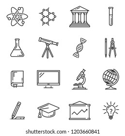 Science, education and laboratory experiments vector icons with book and lab flasks, microscope and atom, DNA and molecule, graduation cap and light bulb, telescope and monitor, graphic and stationery