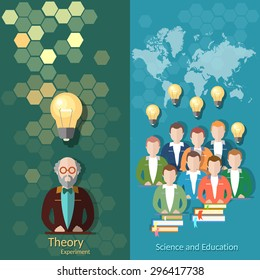 Science and education online education students study university college professor lectures teacher books vector banners