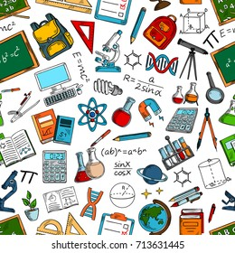 Science and education seamless pattern with school supplies. Book, atom, DNA, test tube for laboratory research, microscope and pencil, chalkboard, bag and calculator, computer, telescope sketches