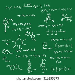 Science equation and structure on blackboard