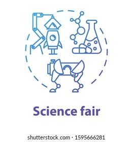 Science fair concept icon. Technology development. Chemistry school project. Robotics building. University and college competition idea thin line illustration. Vector isolated outline drawing