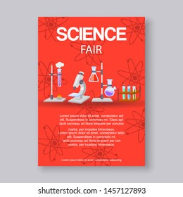 Science fair and innovation expo vector illustration. Educational or scientific event invitation with microscope, beakers and molecule formula for scientists fair for physics, chemestry.