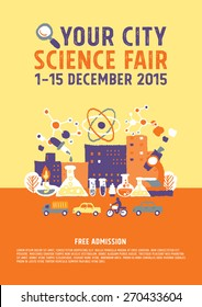 Science Fair poster concept - freehand drawing vector illustration