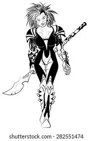 Science fiction abyssal warrior Elf heavily armored with halberd