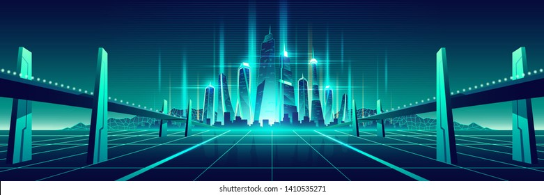 Science fiction metropolis, virtual world city cartoon vector. Two bridges, highways, going on glossy surface with neon grid to shiny, futuristic skyscrapers on horizon fluorescent color illustration