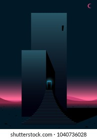 science fiction scene, futuristic building with retro neon colors, surreal vector