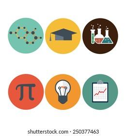 Science flat icons set. DNA, atom, microscope, mathematic Pi icon