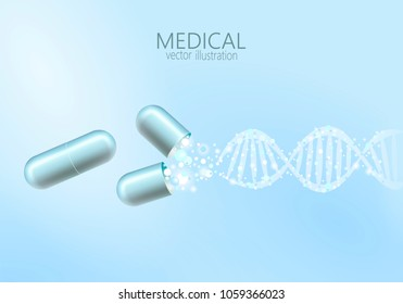 Science gene therapy molecular structure medical genome treatment background. Educational logo medicine center healthcare. Blue DNA sequence light 3d flat vector illustration