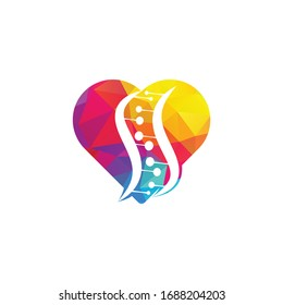 Science genetics and heart vector logo design. Biotechnology genome chromosome.