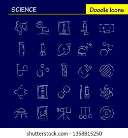 Science Hand Drawn Icon Pack For Designers And Developers. Icons Of Launch, Rocket, Space, Startup, Astronomy, Solar, System, Science, Vector