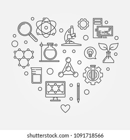 Science heart vector creative illustration made of education outline icons