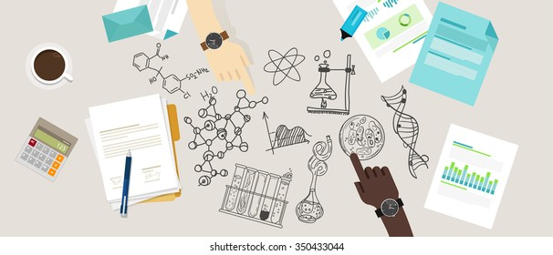 science icon biology lab sketch drawing illustration chemistry laboratory desk research