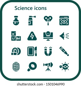 science icon set. 16 filled science icons.  Simple modern icons about  - Science, Medicine, Automaton, View, Periodic table, Energy, Virus, Eye, Tomography, Dissection, Magnets