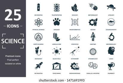 Science icon set. Contain filled flat agriculture, pharmacy, epidemiology, bio weapon, teleportation, parallel universe, bioenergy icons. Editable format.