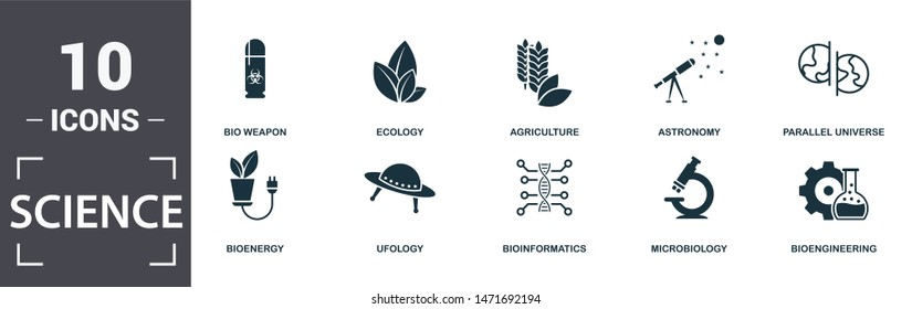 Science icon set. Contain filled flat agriculture, bioengineering, bioinformatics, bio weapon, parallel universe, ufology, ecology, microbiology icons. Editable format.