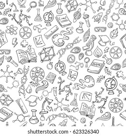 Science Icon Set Hand Drawing Funny Doodle Style Elements Pack Seamless Texture Pattern Vector Art Design Illustration